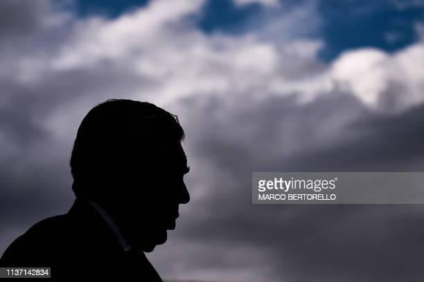Napoli's Italian coach Carlo Ancelotti attends the Italian Serie A football match Chievo Verona vs Napoli on April 2019 at the MarcantonioBentegodi...