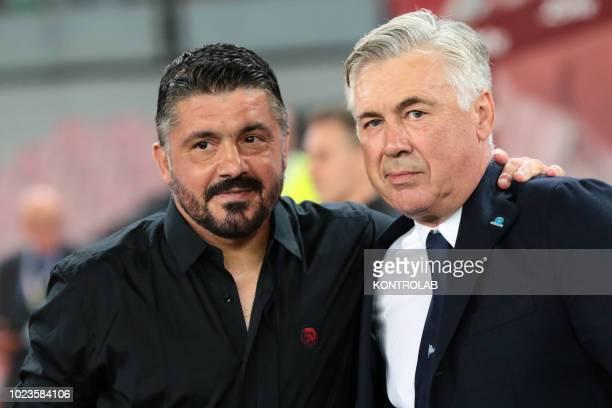 STADIUM NAPLES CAMPANIA ITALY Napoli's Italian coach Carlo Ancelotti greets Milan's Italian coach Gennaro Ivan Gattuso during the Italian Serie A...