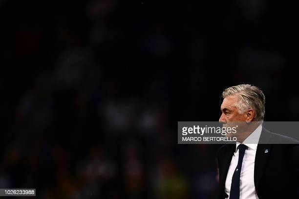 Napoli's Italian coach Carlo Ancelotti looks on during the Italian Serie A football match Sampdoria vs Napoli on September 2 2018 at the 'Luigi...