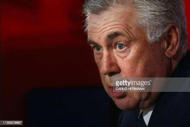 Napoli's Italian coach Carlo Ancelotti looks on prior to the Italian Serie A football match Napoli vs Genoa on April 7 2019 at the San Paolo stadium...