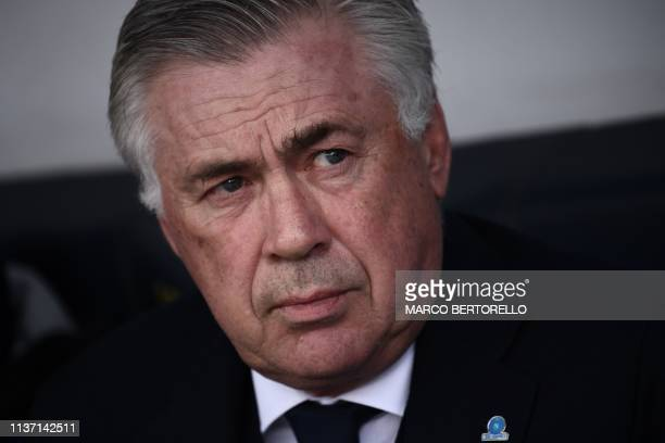 Napoli's Italian coach Carlo Ancelotti looks on prior to the Italian Serie A football match Chievo Verona vs Napoli on April 2019 at the...