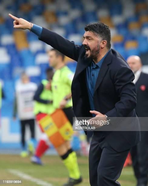 STADIUM NAPLES CAMPANIA ITALY Napoli's Italian coach Gennaro Gattuso gestures during the Tim Italy Cup round of 16 football match SSC Napoli vs AC...