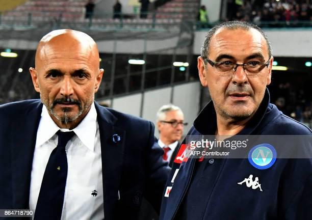 Napoli's Italian coach Mauricio Sarri and Inter Milan's coach Luciano Spalletti arrives prior of the Italian Serie A football match Napoli vs Inter...
