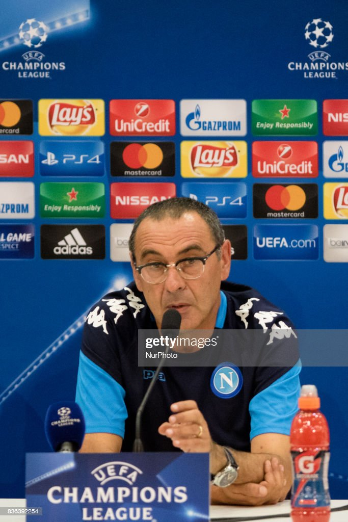 Napoli's Italian coach Maurizio Sarri gives a press conference on August 21, 2017, at the Allianz Riviera stadium in Nice, southeastern France, on the eve of the UEFA Champions League play-off football match between Nice and Napoli.