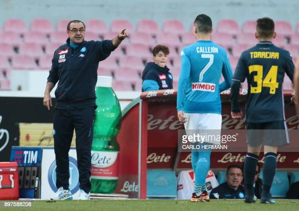 Napoli's Italian coach Maurizo Sarri gestures during the Italian Serie A football match SSC Napoli vs UC Sampdoria on December 23 2017 at the San...