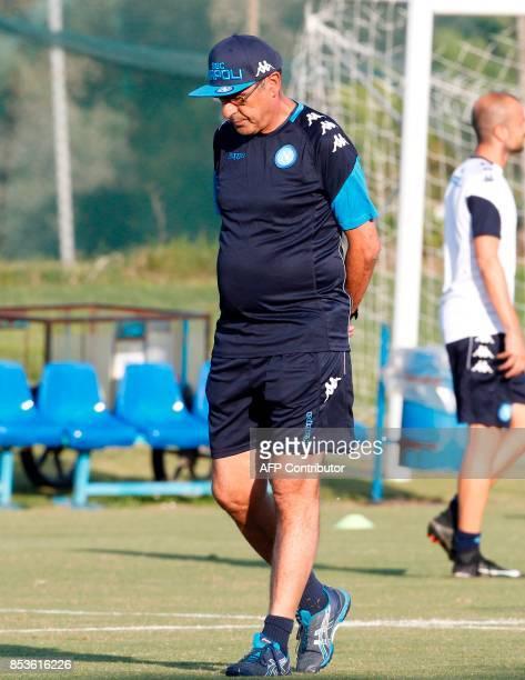 Napoli's Italian coach Maurizo Sarri leads a training session on the eve of the UEFA Champions League Group F football match SSC Napoli vs Feyenoord...