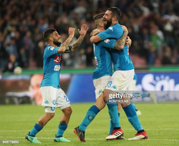 STADIUM NAPLES CAMPANIA ITALY Napoli's Italian defender Lorenzo Tonelli celebrates with teammates Napoli's Italian striker Lorenzo Insigne and...