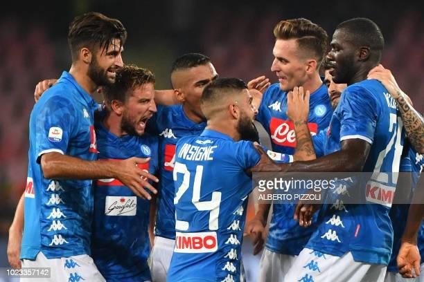 Napoli's Italian defender Sebastiano Luperto Napoli's Belgian forward Dries Mertens Napoli's Polish forward Arkadiusz Milik Napoli's Italian forward...
