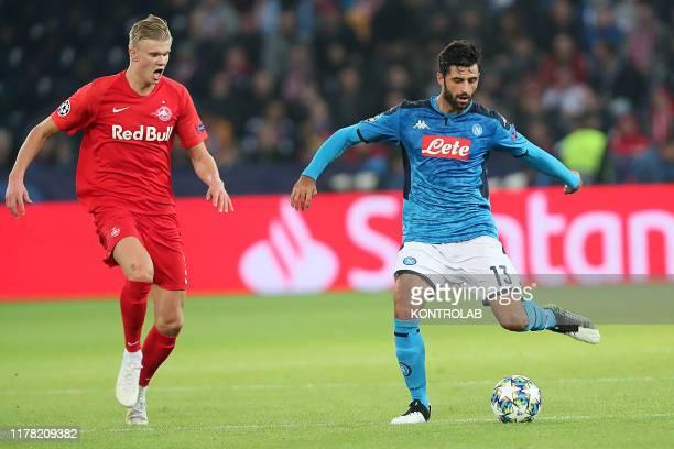 Napoli's Italian defender Sebastiano Luperto next to Salzburg's Norwegian forward Erling Braut Haland during the UEFA Champions League football match...