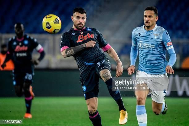 Napoli's Italian forward Andrea Petagna and Lazio's Brazilian defender Luiz Felipe go for the ball during the Italian Serie A football match Lazio vs...
