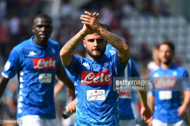 Napoli's Italian forward Lorenzo Insigne celebrates after scoring a goal during the Italian Serie A football match between Torino and Napoli at the...