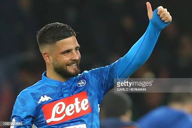 Napoli's Italian forward Lorenzo Insigne celebrates after scoring during the Italian Serie A football match Napoli vs Sampdoria on February 2 2019 at...