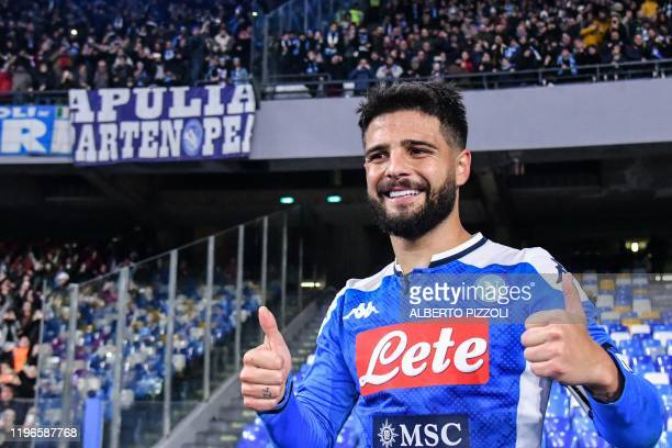 Napoli's Italian forward Lorenzo Insigne celebrates at the end of the Italian Serie A football match Napoli vs Juventus on January 26 2020 at the San...