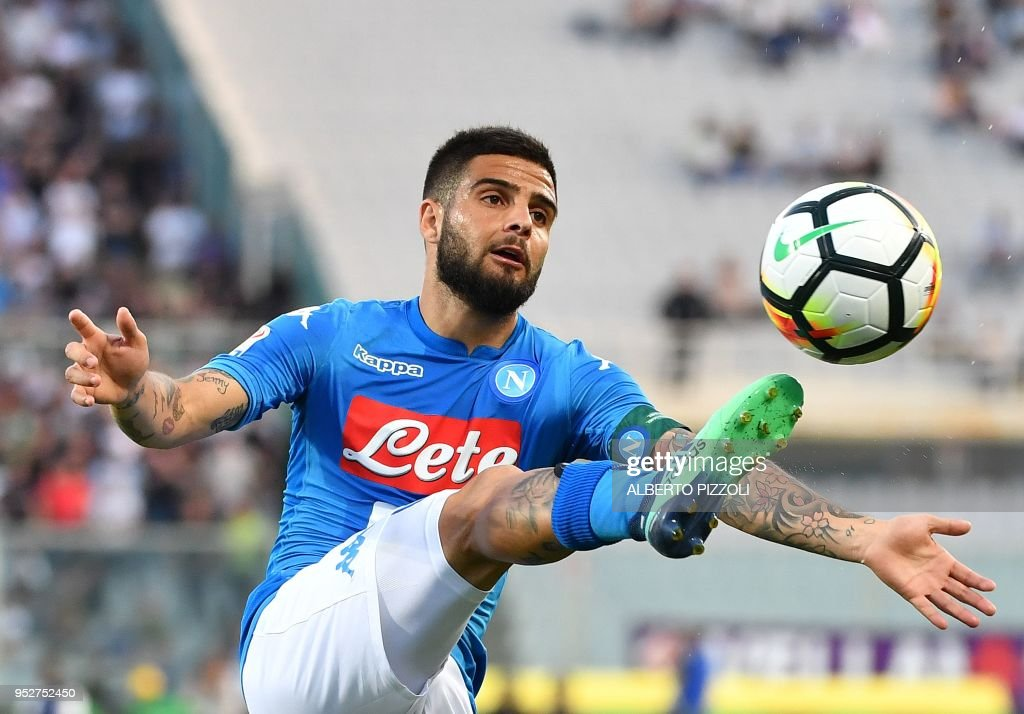 Napoli's Italian forward Lorenzo Insigne controls the ball during the Italian Serie A football match Fiorentina vs Napoli on April 29, 2018 at Artemio-Franchi stadium in Florence.