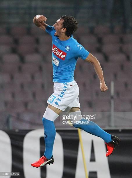 Napoli's Italian forward Manolo Gabbiadini celebrates after scoring a goal during the Italian Serie A football match SSC Napoli vs AC Chievo Verona...
