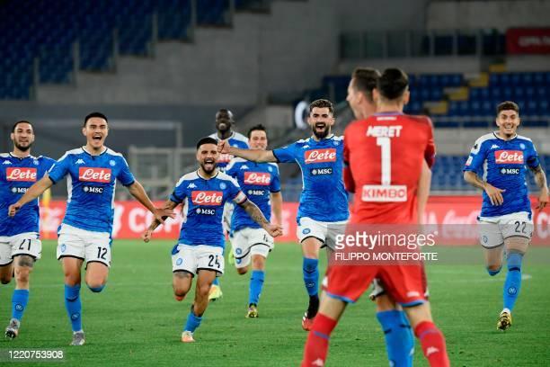 Napoli's Italian forward Matteo Politano Napoli's Macedonian defender Eljif Elmas Napoli's Italian forward Lorenzo Insigne Napoli's Macedonian...