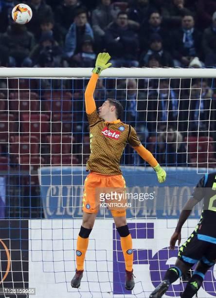 STADIUM ZURICH SWITZERLAND Napoli's Italian goalkeeper Alex Meret deflect the ball during the UEFA Europa League Round of 16 first leg foorball match...