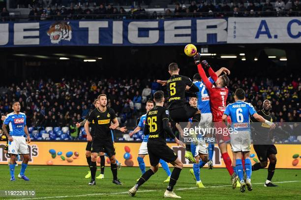 Napoli's Italian goalkeeper Alex Meret deflects a shot during the Italian Serie A football match Napoli vs Inter Milan on January 6 2020 at the San...