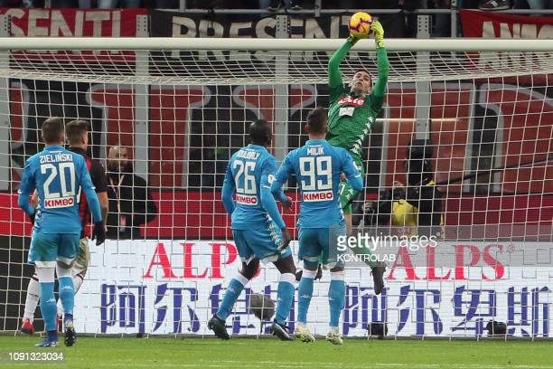 STADIUM MILAN LOMBARDIA ITALY Napoli's Italian goalkeeper Alex Meret makes a save during the Italy TIM Cup quartefinal football match AC Milan vs SSC...