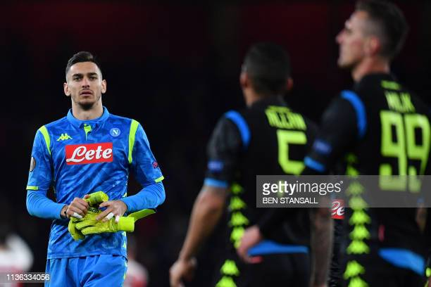 Napoli's Italian goalkeeper Alex Meret reacts at the final whistle during the UEFA Europa League quarter final first leg football match between...