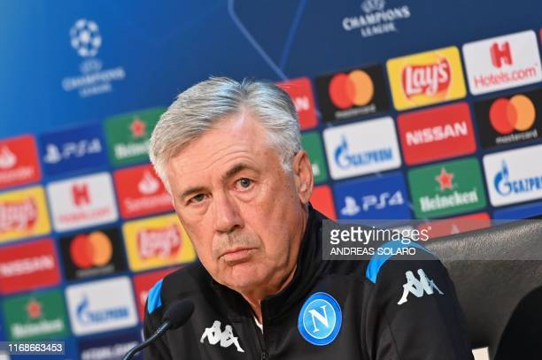 Napoli's Italian head coach Carlo Ancelotti addresses a press conference on September 16 2019 at the SSC Napoli training Center in Castel Volturno...