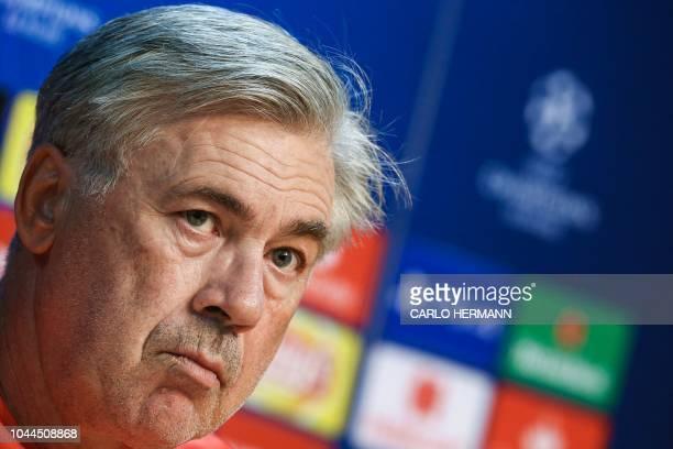 Napoli's Italian head coach Carlo Ancelotti addresses the media during a press conference on the eve of the UEFA Champions League Group C football...