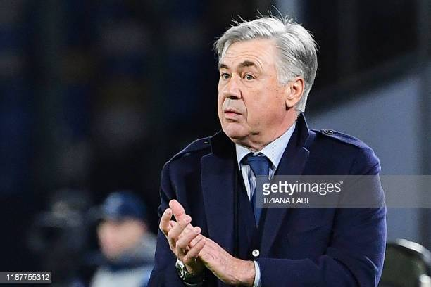 Napoli's Italian head coach Carlo Ancelotti looks on during the UEFA Champions League Group E football match Napoli vs Genk on December 10 2019 at...