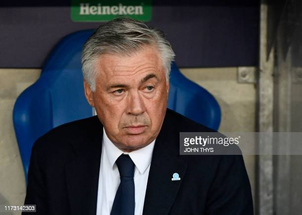 Napoli's Italian head coach Carlo Ancelotti looks on prior the UEFA Champions League Group E football match between Napoli and RC Genk on October 02...