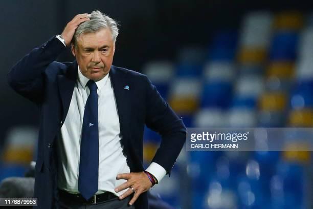 Napoli's Italian head coach Carlo Ancelotti reacts during the Italian Serie A football match Napoli vs Verona on October 19, 2019 at the San paolo...