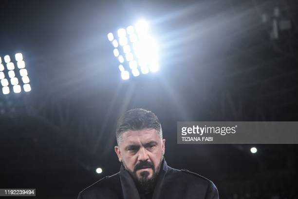 Napoli's Italian head coach Gennaro Gattuso is pictured prior to the Italian Serie A football match Napoli vs Inter Milan on January 6 2020 at the...