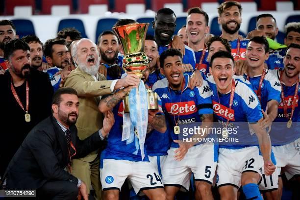 Napoli's Italian head coach Gennaro Gattuso , Napoli President Aurelio De Laurentiis and players celebrate after Napoli won the TIM Italian Cup final...