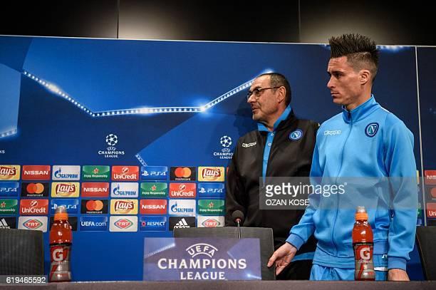 Napoli's Italian head coach Maurizio Sarri Spanish forward Jose Maria Callejon give a press conference at the Vodafone Arena Stadium in Istanbul on...