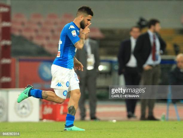 Napoli's Italian striker Lorenzo Insigne celebrates after scoring a goal during the Italian Serie A football match SSC Napoli vs Udinese Calcio on...