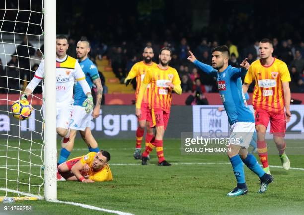 Napoli's Italian striker Lorenzo Insigne celebrates scoring a goal during the Italian Serie A football match SSC Napoli versus Benevento Calcio on...