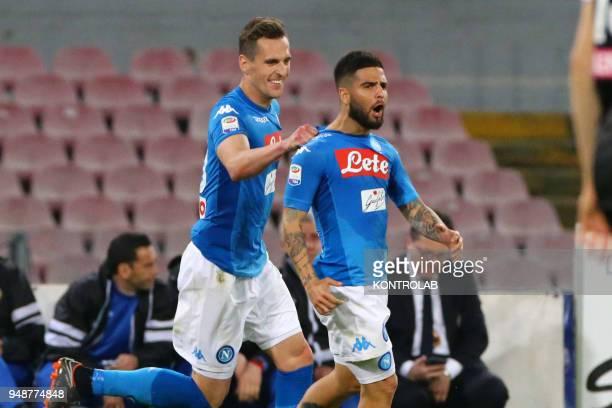 STADIUM NAPLES CAMPANIA ITALY Napoli's Italian striker Lorenzo Insigne celebrates with teammate Napoli's Polish striker Arkadiusz Milik after scoring...