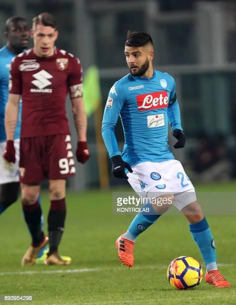 STADIUM TORINO PIEMONTE ITALY Napoli's Italian striker Lorenzo Insigne controls the ball during the Italian Serie A football match FC Torino Svs SC...
