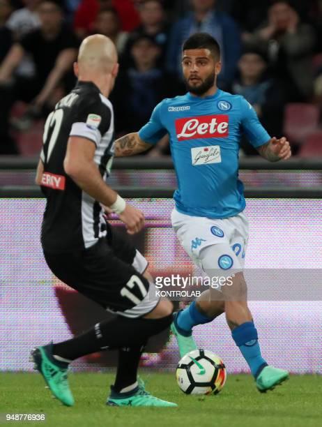 STADIUM NAPLES CAMPANIA ITALY Napoli's Italian striker Lorenzo Insigne controls the ball during the Italian Serie A football match SSC Napoli vs...
