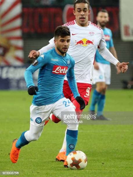ARENA LEIPZIG SACHSEN GERMANY Napoli's Italian striker Lorenzo Insigne controls the ball next to Leipzig's Danish striker Yussuf Poulsen during the...