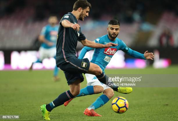 Napoli's Italian striker Lorenzo Insigne fights for the ball with Sampdoria's defender from Poland Bartosz Bereszynski during the Italian Serie A...