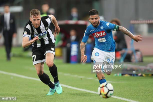 STADIUM NAPLES CAMPANIA ITALY Napoli's Italian striker Lorenzo Insigne fights for the ball with Udinese's Swiss defender Silvan Widmer during the...