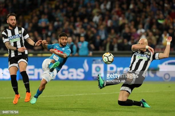 STADIUM NAPLES CAMPANIA ITALY Napoli's Italian striker Lorenzo Insigne kicks the ball as fighting with Udinese's Italian defender Federico Zampano...