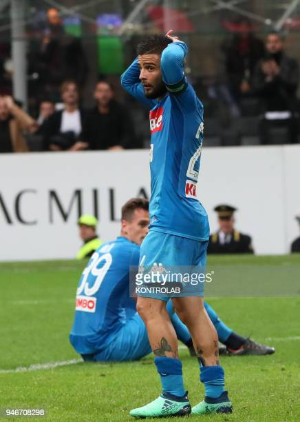 STADIUM MILAN LOMBARDIA ITALY Napoli's Italian striker Lorenzo Insigne reacts after missing a goal during the Italian Serie A football match AC Milan...