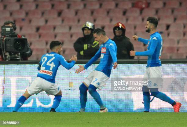 Napoli's Italian striker Lorenzo Insigne Spanish striker Jose Maria Callejon and Albanian defender Elseid Hysaj celebrate during the Italian Serie A...
