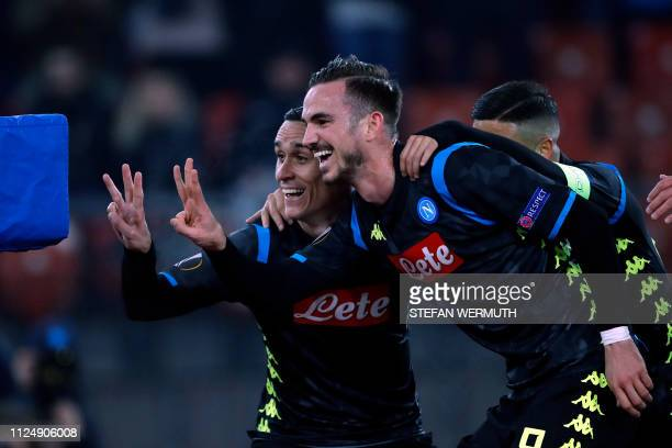 Napoli's Jose Callejon celebrates after scoring his team's second goal during the UEFA Europa League round of 32 first leg football match between FC...