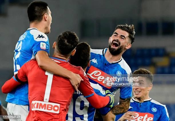 Napoli's Macedonian defender Eljif Elmas celebrates with teammates after Napoli won the TIM Italian Cup final football match Napoli vs Juventus on...