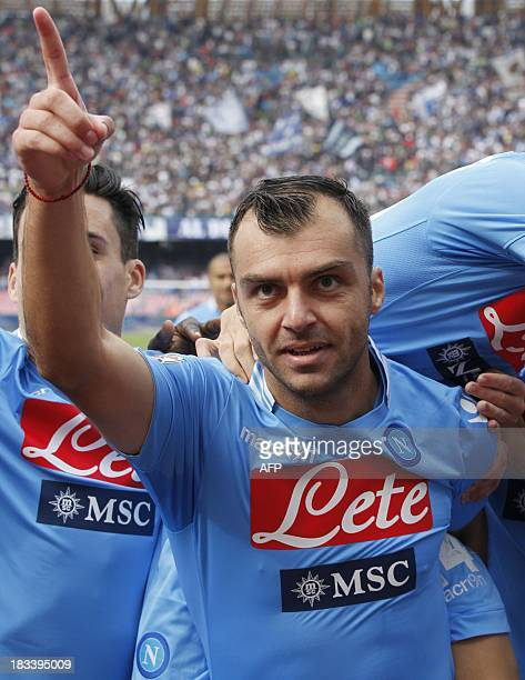 Napoli's Macedonian forward Goran Pandev celebrates after scoring during the Italian Serie A football match SSC Napoli vs Livorno in San Paolo...