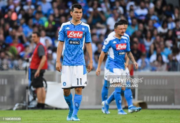 Napoli's Mexican forward Hirving Lozano attends the Italian Serie A football match Napoli vs Sampdoria on September 14 2019 at the San Paolo stadium...