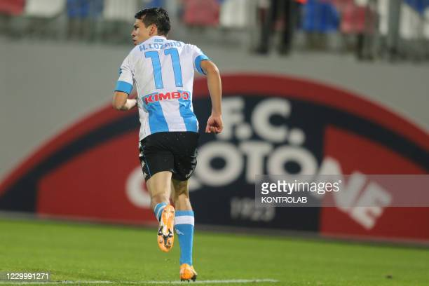 Napoli's Mexican forward Hirving Lozano celebrates after scoring a goal during the Serie A football match Fc Crotone vs SSC Napoli. Napoli won 4-0.