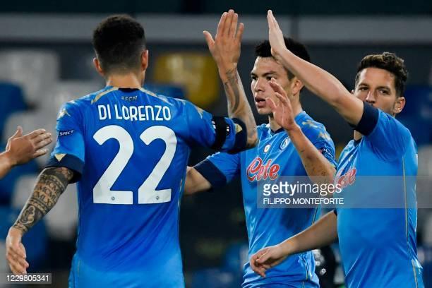 Napoli's Mexican forward Hirving Lozano celebrates after scoring during the UEFA Europe League Group F football match Napoli vs Rijeka on November...