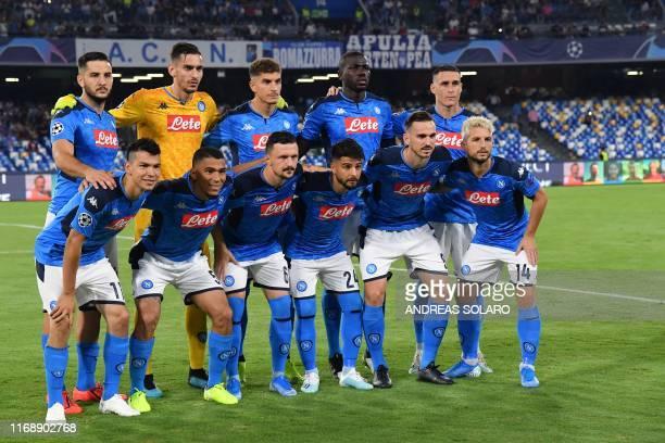 Napoli's Mexican forward Hirving Lozano Napoli's Brazilian defender Allan Napoli's Portuguese defender Mario Rui Napoli's Italian forward Lorenzo...